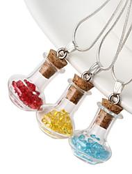 HUALUO®Retro sweater accessories glass stones pendant pentacle bottle