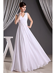 Sheath/Column Wedding Dress-White Floor-length V-neck Chiffon / Satin