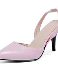 Zapatos de mujer-Tacón Stiletto-Tacones-Tacones-Vestido / Casual / Fiesta y Noche-Semicuero-Negro / Rosa / Blanco