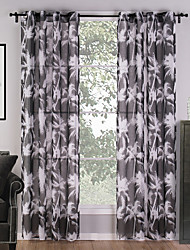 Two Panels Modern Nature & Landscapes Multi-color Living Room Polyester Sheer Curtains Shades 140cm Per Panel