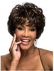 Capless High Quality Deep Brown Curly Fashion Woman's Short Wig