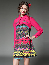 AOFULI Women Clothing Dress Ethnic Vintage Fashion Bead Falbala Patchwork Geometric Print Long Sleeve Dress