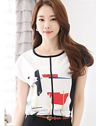 Women's Causal Loose Print Chiffon Short Sleeve T-shirt