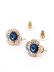 18K Gold Blue Zircon Security Quality Stud Earrings Jewelry for Wedding Party