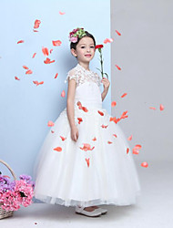 A-line Floor-length Flower Girl Dress-Chiffon / Lace Sleeveless