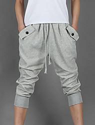 Pantalon de Sport Pour des hommes Couleur plaine Décontracté / Sport Coton / Polyester Noir / Gris