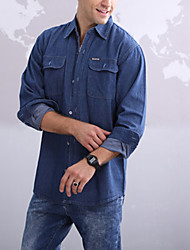High Quality Men's Solid Loose Long Sleeve Top Denim shirts,Cotton / Polyester Casual / Sport Hot Sale