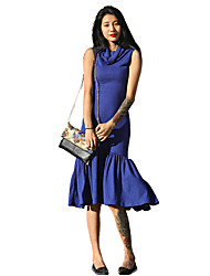 Women's Casual / Day Solid Bodycon / Trumpet/Mermaid / Sweater Dress , Cowl Midi Polyester