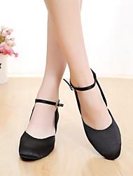 SUN LISA Customizable Women's Dance Shoes Latin / Modern / Salsa Satin Customized Heel Black / Brown