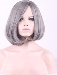 серебристо-серый наклонена взрыва бобо синтетические волосы парик косплей