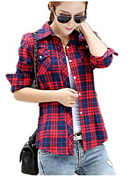 Women's Plaid Blue / Red / White  Green / Yellow Shirt,Shirt Collar