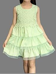 Menina de Vestido Verão Algodão Verde / Rosa / Branco / Amarelo