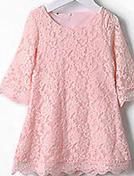 Girl's Pink / White Dress Cotton Summer / Spring