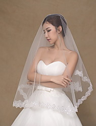 Wedding Veil One-tier Elbow Veils / Fingertip Veils Lace Applique Edge Tulle / Lace Ivory