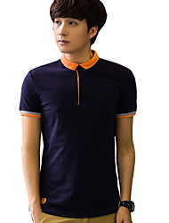 Summer color Lapel men's Short Sleeve T-Shirt Size polo shirt slim minimalist Youth Summer T-shirt dress tide