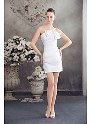 Cocktail Party Dress Sheath / Column Spaghetti Straps Short / Mini Satin with Side Draping