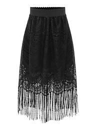 Women's Solid White / Black Skirts,Holiday / Beach Midi