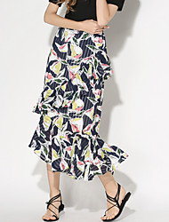 Women's Floral Multi-color Skirts,Holiday / Beach Asymmetrical Ruffle Fashion Slim Fishtail skirt Nylon/De chine