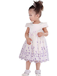 Girl's White Dress Polyester Spring / Fall