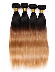 4pcs 12-24 pulgadas brasileña del pelo recto ombre # 1b27 color de cabello humano teje