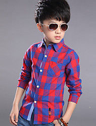 Boy's Cotton Spring / Fall Fashion Check Long Sleeve Shirt