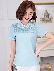 Women's Casual/Daily Simple / Street chic Summer Blouse,Solid Shirt Collar Short Sleeve Blue / White / Purple Rayon / Polyester Thin