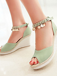 Women's Shoes Leatherette Wedge Heel Wedges Sandals Outdoor / Dress / Casual Blue / Green / Royal Blue / Beige