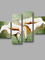 "Ready to Hang Stretched Hand-painted Oil Painting 60""x44"" Canvas Wall Art Modern Flowers Green White Lily"