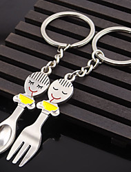 A Pair Men Women Fashion Plating Gold Silver Spoon Knife And Fork Crystal Pendant Key Ring Car Key Chain Jewelry Gift