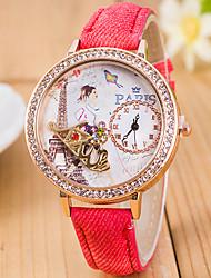 L.WEST Ladies' 3D KISS Diamonds Denim Silicone Quartz Watch Cool Watches Unique Watches