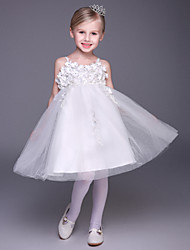 A-line Short / Mini Flower Girl Dress - Tulle Sleeveless Spaghetti Straps with