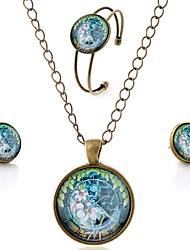 Lureme® Time Gem Series Simple Vintage Style Flower Pendant Necklace Stud Earrings Bangle Jewelry Sets