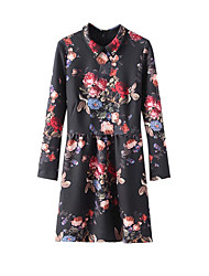 Women's Casual/Daily Vintage Sheath Dress,Floral Shirt Collar Above Knee Long Sleeve Black Polyester Spring