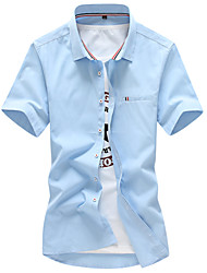 Men's Casual Slim Ribbon Short Sleeve Shirt,Cotton / Polyester Casual / Plus Sizes Solid
