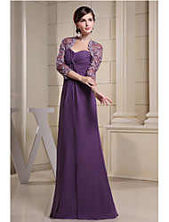 Sheath/Column Mother of the Bride Dress-Grape Floor-length Chiffon