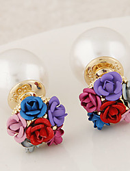Stud Earrings Pearl Imitation Pearl Alloy Fashion Gold Gray Red Blue Rainbow Jewelry 2pcs
