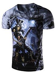 Men's Fashion Slim Skull Guitar Pattern Printed Short Sleeved T-Shirt,Cotton / Spandex Casual Print