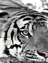 JAMMORY Animal Canvas Print One Panel Ready to Hang,Vertical Black and white tiger large mural