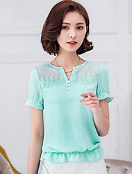 Women's Solid Pink / White / Green Blouse,V Neck Short Sleeve