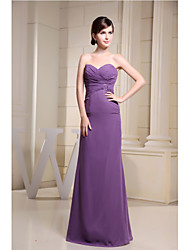 Floor-length Chiffon Bridesmaid Dress - Sheath / Column Sweetheart with Side Draping