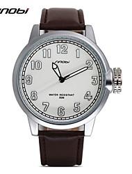 SINOBI® China-Brand Men's Leather Wrist Watch Brown Man Casual Waterproof Quartz Watches Males Outdoor Wristwatches Cool Watch Unique Watch