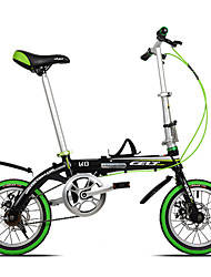 Bicicletas plegables Ciclismo 6 velocidad 14 pulgadas Unisex Adulto Doble Disco de Freno Cuadro de Aleación de Aluminio Doblezaleación de