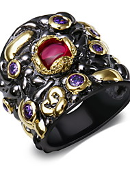 Lady Trendy Rings Amethyst & Siam Cubic Zirconia Bezel Setting 18K Gold & Black Plated Evening cocktail Rings for women