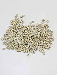 Blonde 5*3*3 mm Silicone Aluminum Micro Tubes Extensions Beads for Loop Stick I Tip Ring Hair Black Blonde 1000pcs