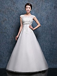 Ball Gown Wedding Dress-Floor-length Scoop Lace / Satin / Tulle