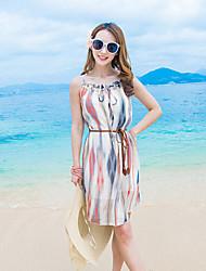 Women's Beach Boho Chiffon Dress,Striped Round Neck Above Knee Sleeveless Multi-color Polyester Summer