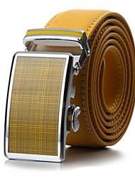 Men's Fashion Genuine Leather Ratchet Belt Business Yellow Belts
