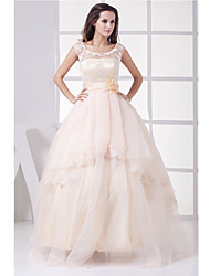 A-line Wedding Dress-Champagne Floor-length Jewel Organza / Satin