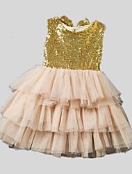 Vestido Chica de-Todas las Temporadas-Poliéster-Beige