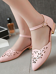 Women's Spring Summer Fall Leatherette Outdoor Dress Casual Flat Heel Buckle Pink Purple White